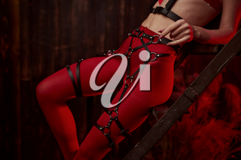 Sexy woman poses in red bdsm suit, abandoned factory interior on background. Young girl in erotic underwear, sex fetish, sexual fantasy