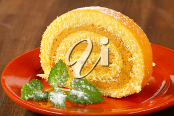 Swiss roll with peanut butter cream filling