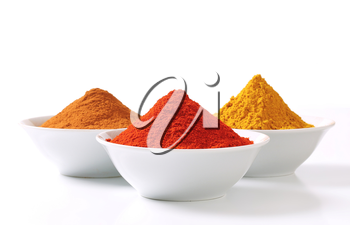 Bowls of curry powder, paprika and ground cinnamon