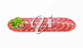 Spanish summer sausage made with Iberico pork - thinly sliced