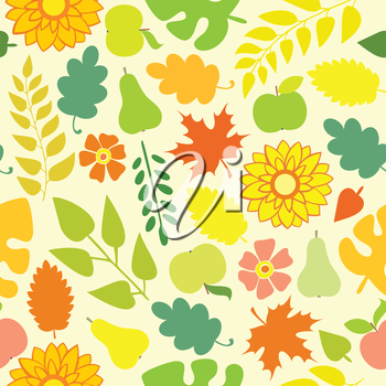 Autumn Seamless pattern on a yellow background