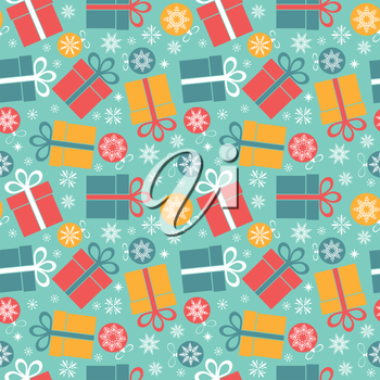 Seamless vector pattern with gifts on a blue background