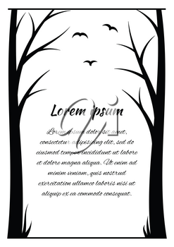 Frame for the text of the black outlines of trees on a white background
