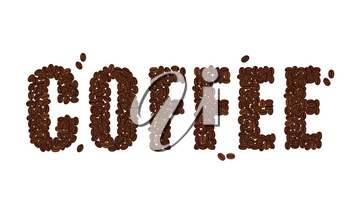 The word COFFEE written with Coffee Beans isolated on a white background. Vector format