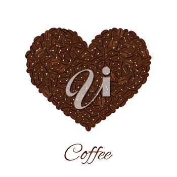 Heart created from coffee beans isolated on a white background