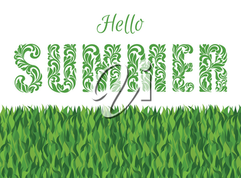 Hello SUMMER. Decorative Font made in swirls and floral elements isolated on a white background with grass