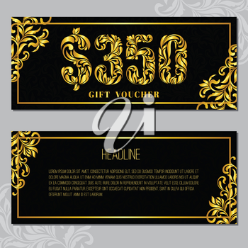 Gift voucher template 350 USD. The inscription created from a floral ornament. Golden Letters on a black background with floral pattern. VIP design.