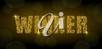 WINNER. Letters  from a floral ornament with golden glitter and sparks on a dark background with bokeh. Luxury design