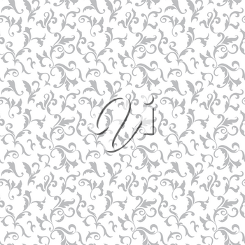Vintage seamless pattern. Light gray luxurious vegetative tracery of stems and leaves isolated on a white background. Ideal for textile print, wallpapers and packaging design