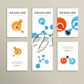 Six vector pattern with abstract figures brochures.