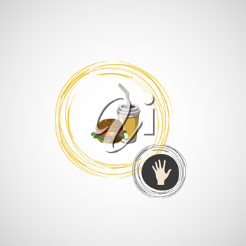 Vector icon of fast food sandwich and a drink.