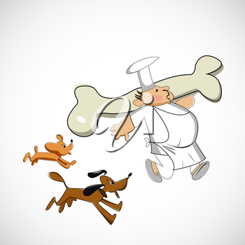 Chef carrying a bone for dogs. Vector sketch.
