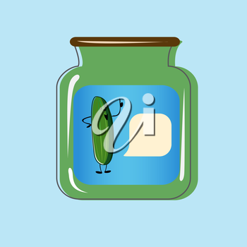 Bank with home canned pickles. Vector design.