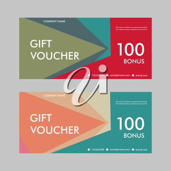 Template gift voucher with abstract pattern. Design for certificates, discounts, special offers.