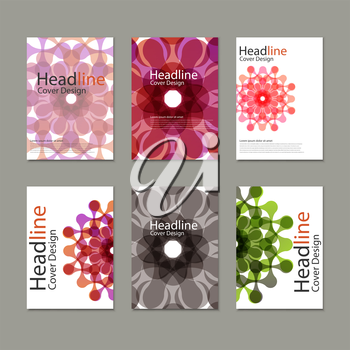 Six Vector pattern brochure  with abstract figures.