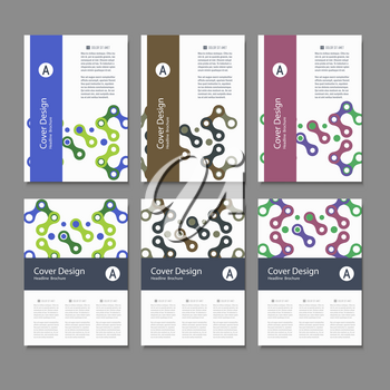 Brochures design templates. Vector pattern with abstract figures.