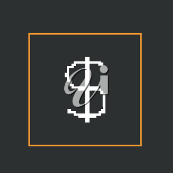 Simple style pixel icon dollar sign. Vector design.