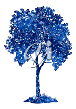 Chestnut blue tree with leaves, grass and snowflakes, a symbol of winter and Christmas, isolated on white background. Eps10, contains transparencies. Vector