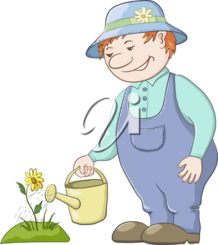 Man gardener waters a bed with a flower from a watering can