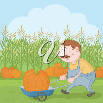 Farmer cartoon man harvest, driven truck with pumpkin. Vector