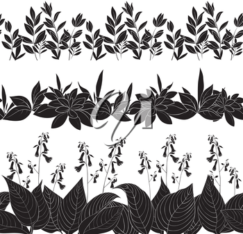 Set seamless of flowers and grass, black silhouette isolated on white background. Vector