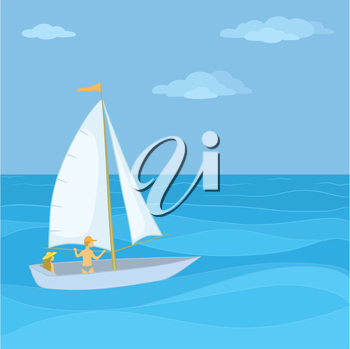 Sailing boat with a man and a woman floating in the blue sea. Vector