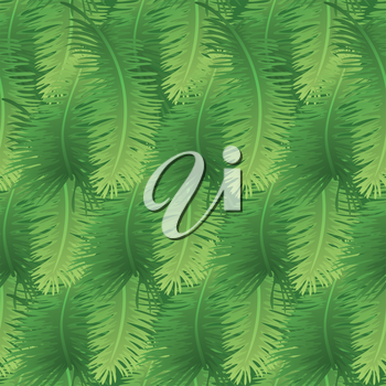 Seamless background, green branches with leaves of palm trees. Vector