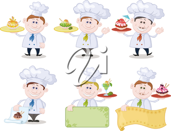 Set Cartoon Cooks Chefs with Ice Cream and a Blank Posters for Advertising Texts, Isolated on White Background. Eps10, Contains Transparencies. Vector