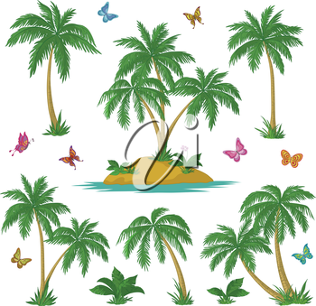 Tropical set: sea island with plants, palm trees, flowers and butterflies. Vector
