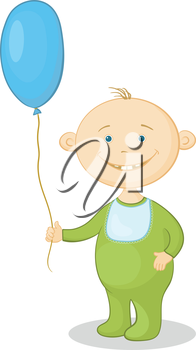 Cheerful smiling child holding a blue balloon. Vector