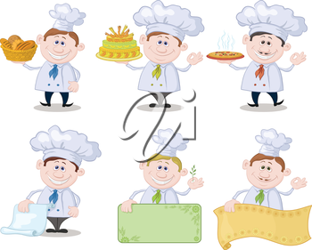 Set of cartoon cooks, chefs, hold basket of bread, cake, pizza, menus and posters. Vector