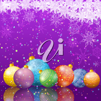 Background for Christmas holiday design, balls, snowflakes and stars. Eps10, contains transparencies. Vector