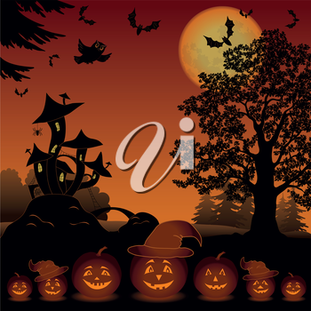 Halloween cartoon landscape with pumpkins Jack-o-lantern, moon, magic Castle - mushroom, owl, trees and bats. Element of this image furnished by NASA (www.visibleearth.nasa.gov). Vector