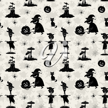 Seamless Pattern, Symbols Halloween Holiday, Black Silhouettes on Background with Blots. Vector