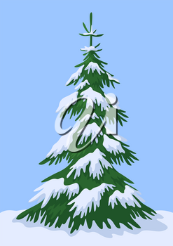 Christmas Winter Landscape, Green Fir Tree with White Snow Against the Blue Sky. Vector