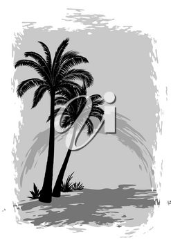 Exotic Landscape, Tropical Palms Trees Black Silhouettes on Grey Background. Vector