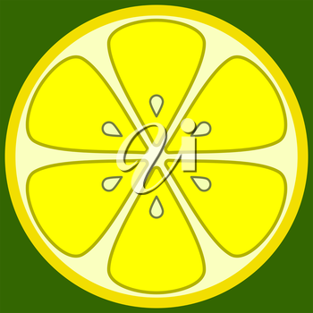 Lemon in a cut with seeds, yellow on a green background. The symbolical image..