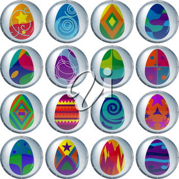 Easter eggs buttons, with various colour patterns, holiday symbol, eps10, contains transparencies. Vector