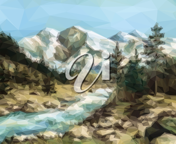 Mountain Landscape with Fir Trees and River, Low Poly. Vector