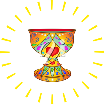 Legendary bowl Holy Grail in an environment of solar beams. Vector