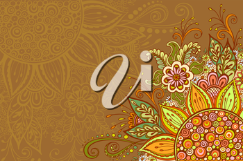 Abstract Background, Floral Ornament, Colorful Pattern, Symbolic Flowers and Leafs. Vector