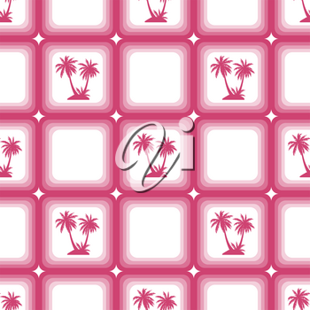Seamless Pattern, Exotic Landscape, Red Tropical Palm Trees in Pink Squares on Tile White Background. Vector