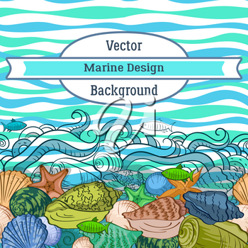 Sea Exotic Pattern, Seashells, Fishes, Starfish Colorful and Contours on a Blue and Green Wave Background. Vector
