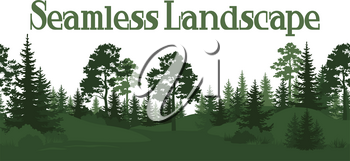 Seamless Horizontal Summer Forest with Pine, Fir Tree, Grass and Bush Green Silhouettes on White Background. Vector