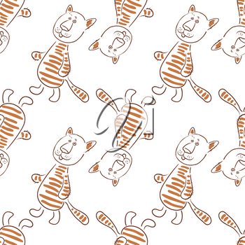Seamless Pattern, Cartoon Animal, Tiger or Cat Isolated on Tile White Background. Vector