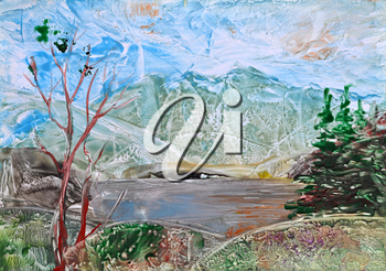 Picture, Oil Painting Symbolical Landscape, Mountain, Lake and Trees
