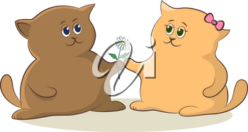 Cartoon Cat Boy Gives a Flower to a Cat Girl as a Sign of Love and Friendship. Vector