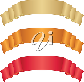 Set of banners modern ribbons, different colors. Vector