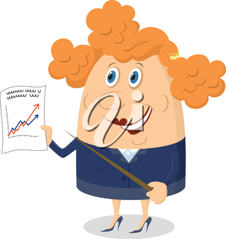 Business lady with pointer and graph showing the growth dynamics, funny cartoon character. Vector