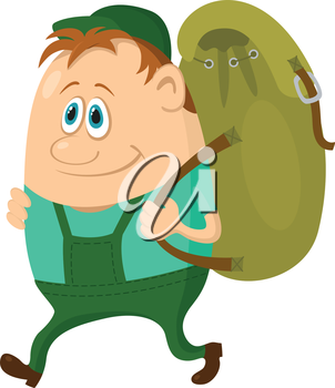 Tourist, cartoon character, hiker with a backpack going on vacation. Vector